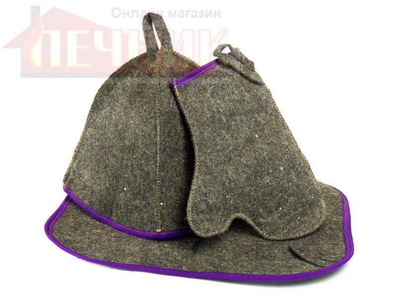 Набор для сауны (колпак, рукавица, коврик) темный с цветным кантом